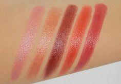 Burt's Bees Lip Shimmer L-R: Strawberry, Caramel, Plum, Cherry, Rhubarb