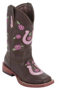 Roper® Kids Chocolate w/ Pink Horseshoe & Flowers Square Toe Western Boots | Cavender's