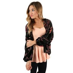 """You'll look nothing but fabulous anytime you wear the """"So Alluring Overlay!"""" This velvet printed floral overlay is perfect for the season! Pair it with black skinnies and boots for a classic look that will turn heads wherever you go!"""