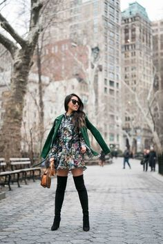 Spring Ready :: Floral dresses & Suede jackets :: Outfit :: J A C K E T ::  Veda suede jacket D R E S S ::  H&M floral dress S H O E S ::  Stuart Weitzman boots B A G ::  Celine A C C E S S O R I E S ::  Karen Walker sunglasses   Audry Rose baguette ring   Catbird band  PUBLISHED: February 12, 2018 #stuartweitzmanboots