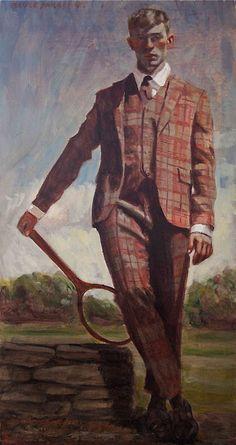 'Man with Tennis Racket' by Mark Beard. Oil on canvas.