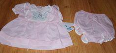 Vtg Beatrix Potter 2 Pc Dress & Bloomer Set Pink 6 Month Girl Peter Rabbit #PINK