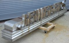 Silver channel letters with neon Channel Letters, Custom Metal Signs, Typography, Lettering, Signage Design, Advertising Design, Modern House Design, Indoor Outdoor, Sign Boards