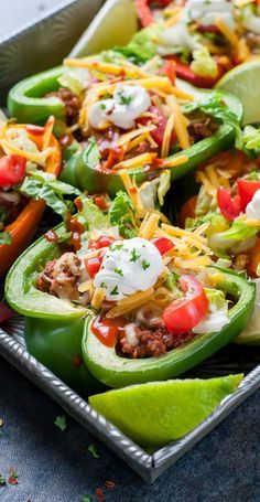 Low Unwanted Fat Cooking For Weightloss Take Taco Night To The Next Level With These Baked Bell Pepper Tacos With Instructions For Vegan, Vegetarian, And T-Rex Options, These Peppers Are Ready Totransformyour Typical Taco Fare With A Clean-Eating Twist Clean Recipes, Beef Recipes, Mexican Food Recipes, Cooking Recipes, Clean Meals, Clean Foods, Recipies, Juice Recipes, Simple Recipes