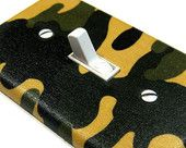 Green Camo Camouflage Light Switch Cover Children Decor Tan Camoflauge Boys Bedroom Decoration 645