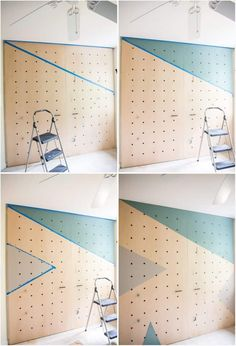 This amazing DIY giant plywood pegboard wall is so easy to make and it looks super cool! Make it yours and let your kid enjoy homework. Pegboard Ikea, Painted Pegboard, Kitchen Pegboard, Pegboard Display, Peg Board Walls, Diy Peg Board, Peg Boards, Office Wall Organization, Organizing Life