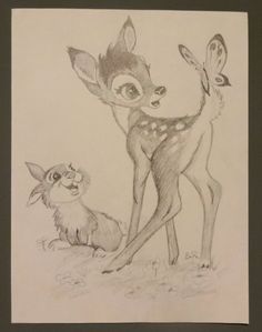 Bambi and Thumper from Disney's Bambi Graphite by TracingReverie, $20.00