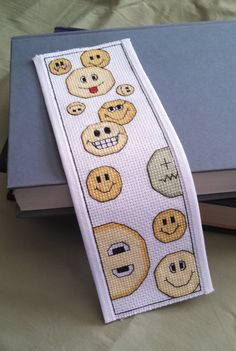 Pattern Cross Stitch Bookmark Smiley Faces by PictureThisCC