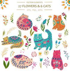 Vector Spring Cats end Plants by Olesya Agudova on Elefante Tribal, Frida Art, Plant Illustration, Easter Illustration, Scandinavian Folk Art, Gouache, Cat Art, Art Inspo, Pattern Design