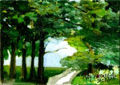 "ACEO  ""Union County Trees"" Original Painting by Raymond Horner Jr.  A scene in New Jersey"
