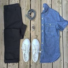 Awesome grid from @mikeswatches  Really like the short sleeved chambray shirt and the white shoes from @gap  Follow for more: @votrends ✔️