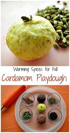 Cardamom play dough, cloves play dough & cinnamon play dough recipes for autumn.This is not edible but it looks fun! Homemade Playdough, Play Food, Autumn Activities, Dough Recipe, Sensory Play, Fall Recipes, Messy Play, Food To Make, Play Dough