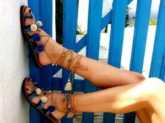 Tie Up Gladiator Sandals Greek Sandals Semi Precious by RiRiPoM