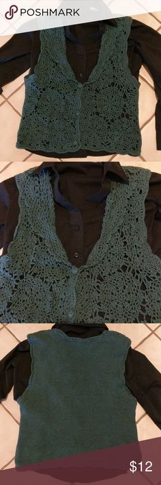 Hand knit vest Very cute, moss green vest. Tag says one size fits all. Looks like small to medium, but is loose knit and could stretch. Gently warn, very good pre-owned condition. Cherry Stix Limited Jackets & Coats Vests