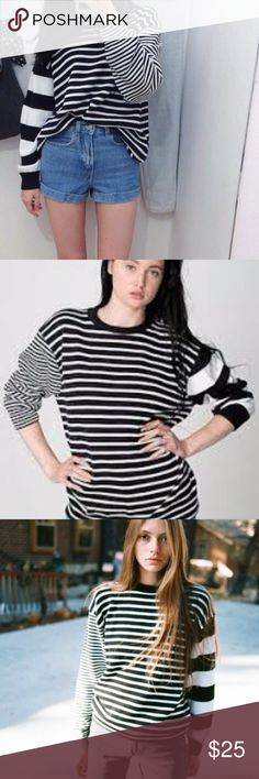 American Apparel Striped Sweater Never worn w/ tags. size Xs, but it's unisex so it fits like a women's large.  its oversized American Apparel Sweaters Crew & Scoop Necks