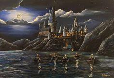 Cumpleaños Harry Potter, Harry Potter Bedroom, Harry Potter Halloween, Harry Potter Drawings, Harry Potter Tattoos, Harry Potter Painting, Castle Painting, Fantasy Castle, Harry Potter Collection