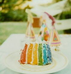 Rainbow cake and party hats!