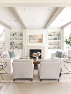 Living Room Decor Living Room Design Benjamin Moore Classic Gray Walls Benjamin Moore Simply White Trim Mantle With Builtins Slipcover White Sofa Neutral Decor Livingroom Livingroomideas Livingroomdecor Living Room Grey, Home Interior, Interior Design Living Room, Living Room Designs, Living Room Decor, Decor Room, Wall Decor, Room Art, Designer Living Rooms
