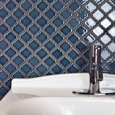 SomerTile Antaeus Denim Blue Porcelain Mosaic Floor and Wall Tile sqft.) (case - antaeus denim blue porcelain), Size 12 x 12 Mosaic Wall, Mosaic Tiles, Wall Tiles, Glass Tiles, Tiling, Bathroom Wallpaper Navy, Navy Bathroom, Master Bathroom, Blue Backsplash