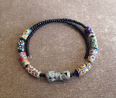 Afrocentric jewelry - Krobo and Brass Choker on Etsy, $25.00
