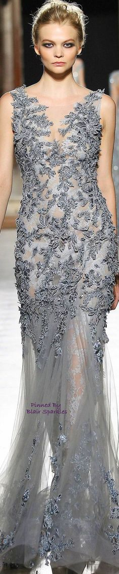 Tony Ward ~ Couture Silver Grey Embroidered Gown 2015 Jaglady ❤