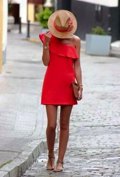 If the dress code calls for a polished yet knockout getup, you can dress in a red shift dress. Dial up this whole getup with brown leather thong sandals. Dress Hats, Dress Outfits, Casual Dresses, Cool Outfits, Fashion Outfits, Red Dress Outfit Casual, Dress Clothes, Coral Summer Dresses, Coral Dress