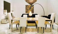 Comedores de diseno - Mesa de Comedor Cromada con Marmol, IPE Cavalli Visionnaire - Mesa con estructura en acero cromada y base superior en marmol de 20 mm con diferentes terminaciones