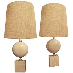 Travertine Table Lamps by Barbier | From a unique collection of antique and modern table lamps at https://www.1stdibs.com/furniture/lighting/table-lamps/