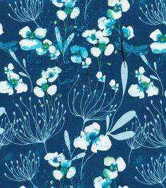 Keepsake Calico™ Cotton Fabric-Misty Orchids On Blue