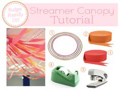 DIY Streamer Canopy Tutorial- Confirmation Party Details | The Busy Budgeting Mama