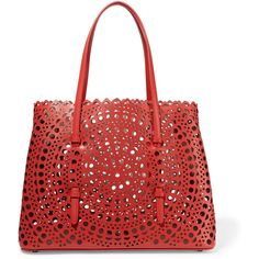 Alaïa Vienne small laser-cut leather tote ($1,940) ❤ liked on Polyvore featuring bags