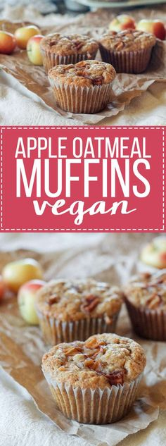 These Apple Oatmeal Muffins are naturally vegan and absolutely full of apple flavor from sautéed apples, apple cider, and applesauce! These healthier muffins are sure to be a breakfast favorite. Sub coconut oil and coconut sugar. Healthy Vegan Dessert, Healthy Muffins, Vegan Treats, Vegan Breakfast Recipes, Vegan Foods, Vegan Snacks, Brunch Recipes, Dessert Recipes, Sweet Desserts