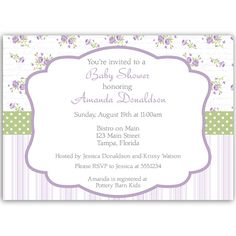 Invite guests to your girl baby shower with this shabby chic themed invitation in shades of light purple and green, featuring stripes and purple flowers.