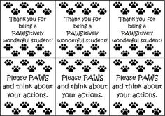 """Manage your classroom with these paw print behavior cards. These cards display black paw prints with the text """"Thank you for being a PAWSitively wonderful student"""" or """"Please PAWS and think about your actions"""" in black font. These are a great addition to any pet themed or paw print themed classroom."""