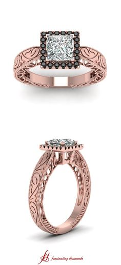 Royal Inscribed Ring ||  Princess Cut Diamond Halo Ring With Black Diamond In 14k Rose Gold