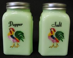Arch Salt & Pepper Shakers – Jadeite w/Rooster