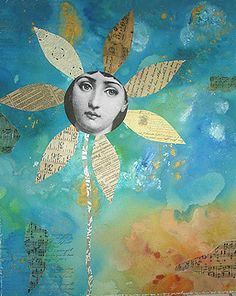 fade-bloom, mixed media collage by Helene deroubaix 2007