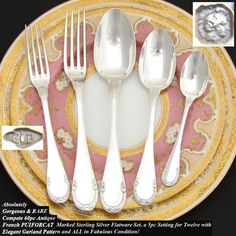 Magnificent Antique French PUIFORCAT 60pc Sterling Silver Flatware Set, 5pc Setting for Twelve