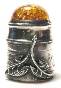 Unique Sterling Silver Thimble, Floral & Leaf Design with Amber Cabochon Top