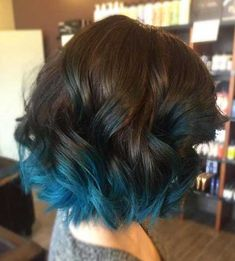 Medium, Curly Lob Hair Styles - Aquamarine Ombre for Short Hair hair frisuren, 18 Beautiful Blue Ombre Colors and Styles Dyed Tips, Hair Dye Tips, Blue Tips Hair, Hair Color Tips, Dip Dye Hair, Dip Dyed, Curly Lob, Curly Hair Styles, Wavy Lob