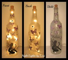 Items similar to Fairy and Purple Butterfly Believe Wine Bottle Night Light on Etsy Recycled Glass Bottles, Painted Wine Bottles, Lighted Wine Bottles, Bottle Lights, Bottle Lamps, Wine Glass, Beer Bottle Crafts, Wine Bottle Art, Wedding Wine Bottles