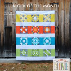 modern block of the month quilt from Rebecca Mae Designs