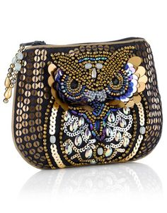 Oscar Owl Embellished Zip Top Purse