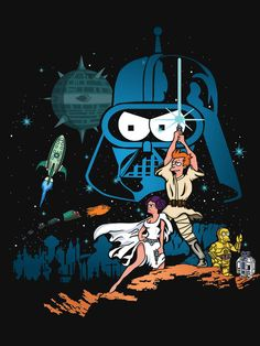 Protect the galaxy with this Futurama/Star Wars mashup tee!  http://www.koitee.com/product/futurama-star-wars-group/    #tshirt #futurama #starwars