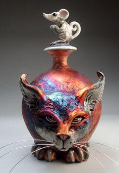 Cat and Mouse face jug pottery folk art raku sculpture by Mitchell Grafton