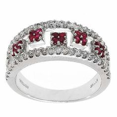 1.65 Cttw G VS Round Brilliant Cut Diamonds and Ruby Cocktail Ring in 14k White Gold by GetDiamondsDirect on Etsy