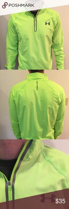 Under Armour neon quarter zip for running Neon Under Armour jacket is perfect for morning and night runs, moderately fitted and does not add bulk. Thumb holes are ideal for warmth on chilly runs as it begins to get colder. . The jacket has only been worn once and is in perfect condition. Under Armour Jackets & Coats Performance Jackets