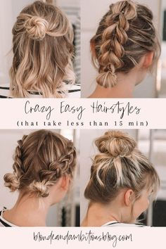 Crazy Easy Hairstyles that take LESS than 15 min easyhair easy hairstyles hairstyles for medium hair easy hairstyle hacks hair hacks medium hair how to style hair braid styles easy braid styles Easy Braid Styles, Easy Hair Up Styles, Hair Styles Work, Different Braid Styles, Curly Hair Styles, Natural Hair Styles, Short Hair Braid Styles, Hair Braiding Styles, Short Hair Hacks