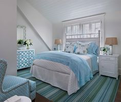 White and Blue Bedrooms, Cottage, bedroom, Cottage Company Interiors