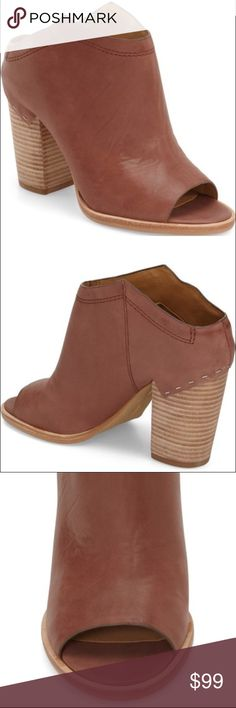 """Dolce vita 'Noa' Bootie in Cinnamon The most comfortable must have shoe of this season and next! Tonal stitching traces the notched topline of a mule-style leather bootie for a modern look, while a stacked woodgrain heel keeps it looking Western chic.3 1/2"""" heel. Side zip closure. Leather upper/textile lining/rubber sole. By Dolce Vita; imported. Dolce Vita Shoes Ankle Boots & Booties"""